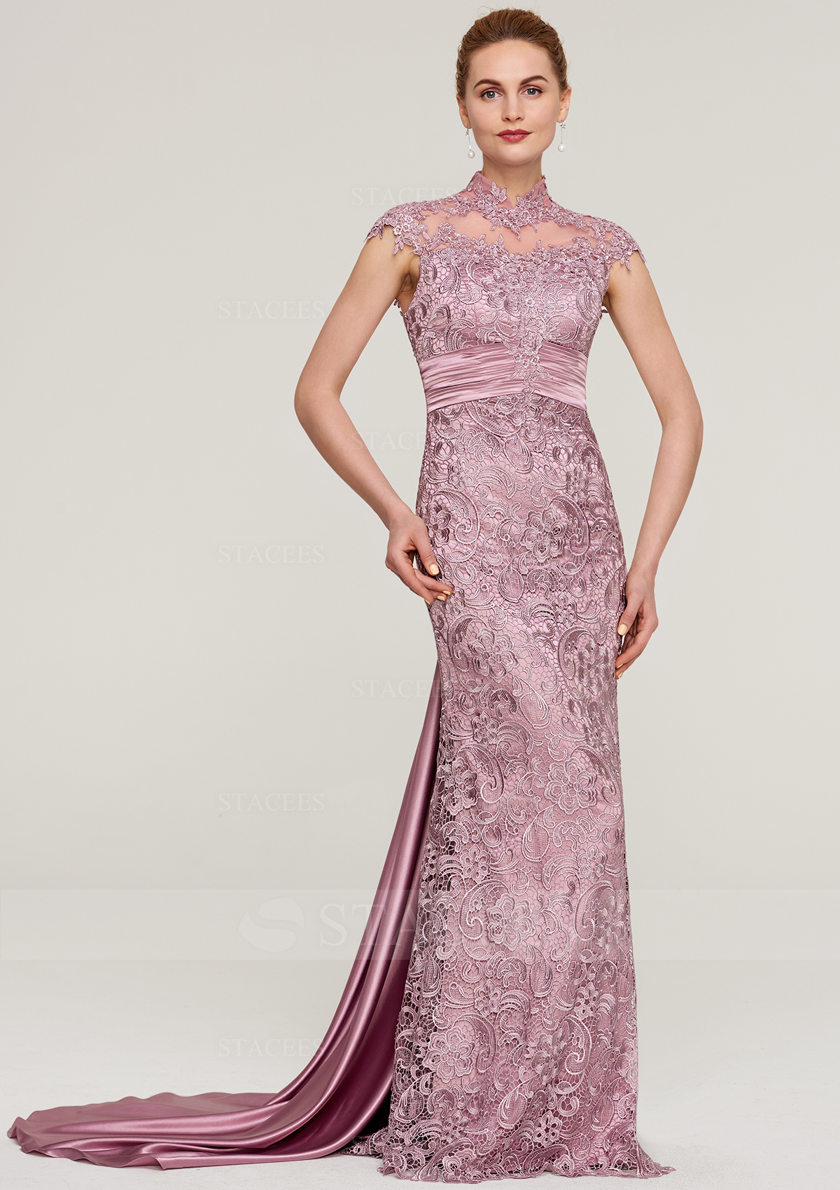 a74af43b21 Sheath Column High-Neck Sleeveless Court Train Lace Mother of the Bride  Dress With Pleated - Mother of the Bride Dresses S18096M - at Stacees.co.uk