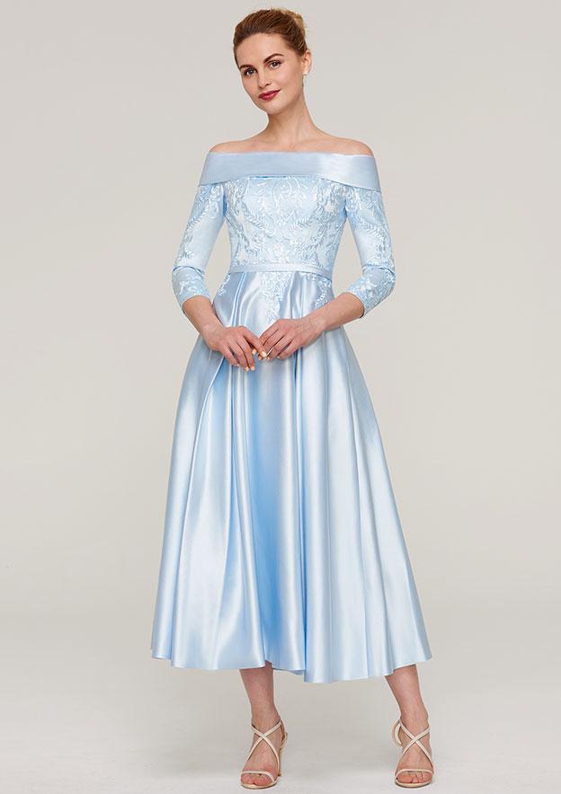 e3f220ce9b A-line Princess Off-the-Shoulder 3 4 Sleeve Tea-Length Satin Mother of the  Bride Dress With Appliqued Sashes - Mother of the Bride Dresses S18091M -  at ...