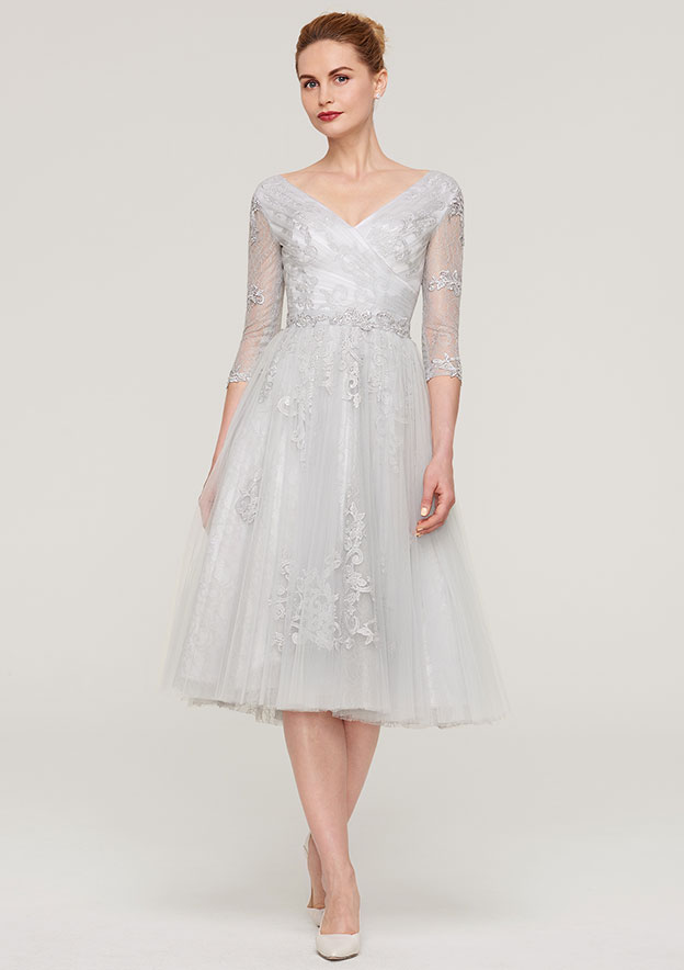 401879c986f16a A-line/Princess V Neck 3/4 Sleeve Tea-Length Tulle Mother of the Bride Dress  With Waistband Appliqued Lace - Mother of the Bride Dresses S18087M - at ...