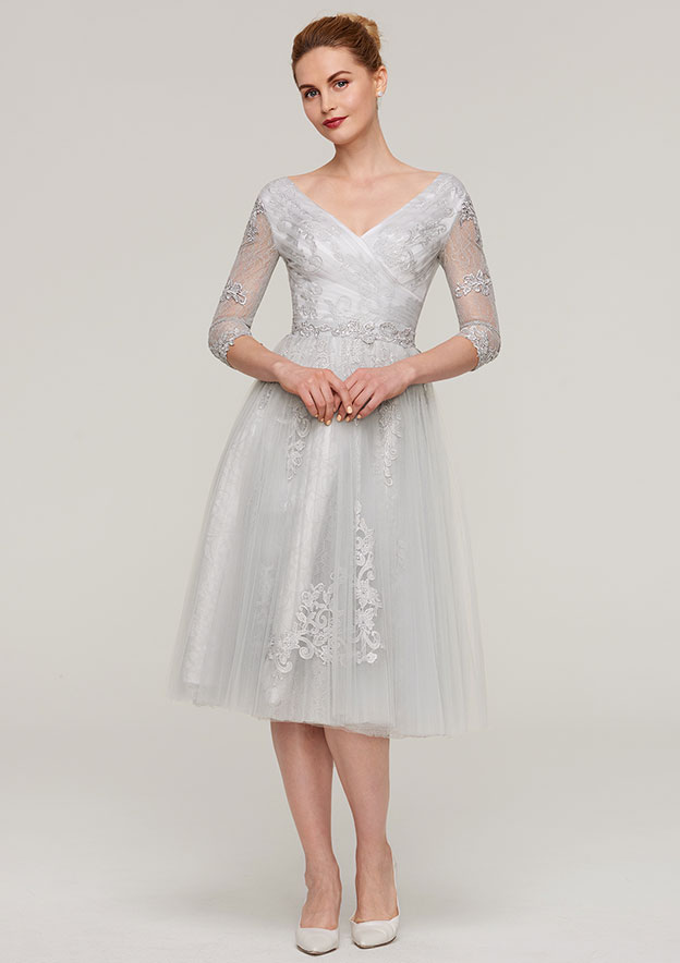 871460abcf2 A-line Princess V Neck 3 4 Sleeve Tea-Length Tulle Mother of the Bride Dress  With Waistband Appliqued Lace