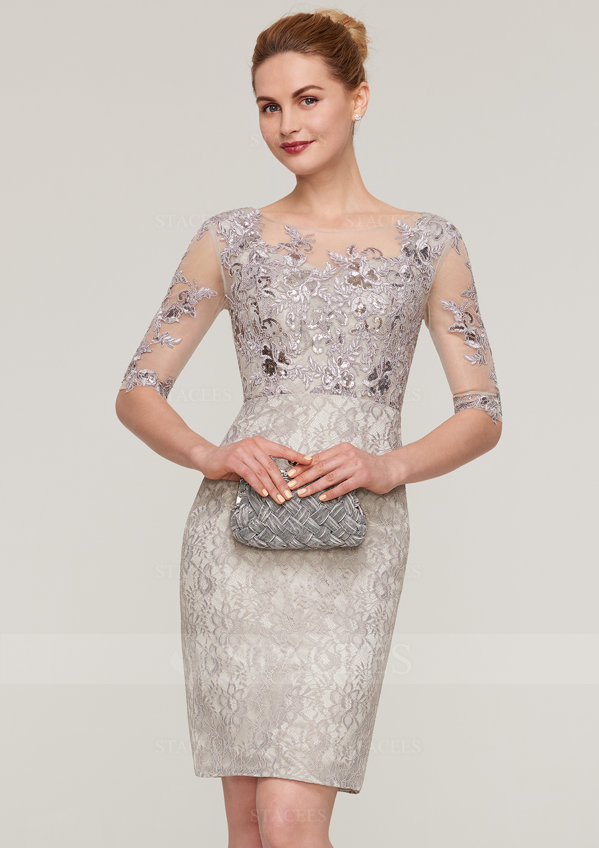 2ee18ad6593f Sheath Column Bateau Half Sleeve Knee-Length Lace Mother of the ...