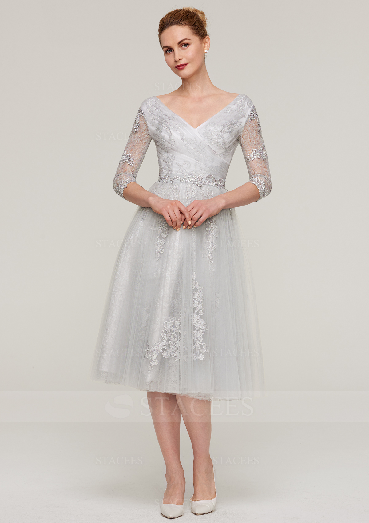 c09e4877e A-line/Princess V Neck 3/4 Sleeve Tea-Length Tulle Mother of the ...