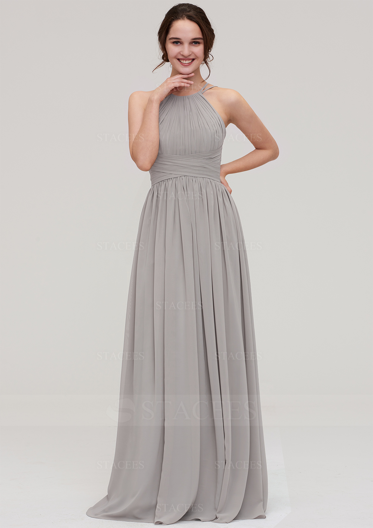 469c14a53c A-line/Princess Halter Sleeveless Long/Floor-Length Chiffon Bridesmaid Dress  With Pleated - Bridesmaid Dresses S18107B - at Stacees