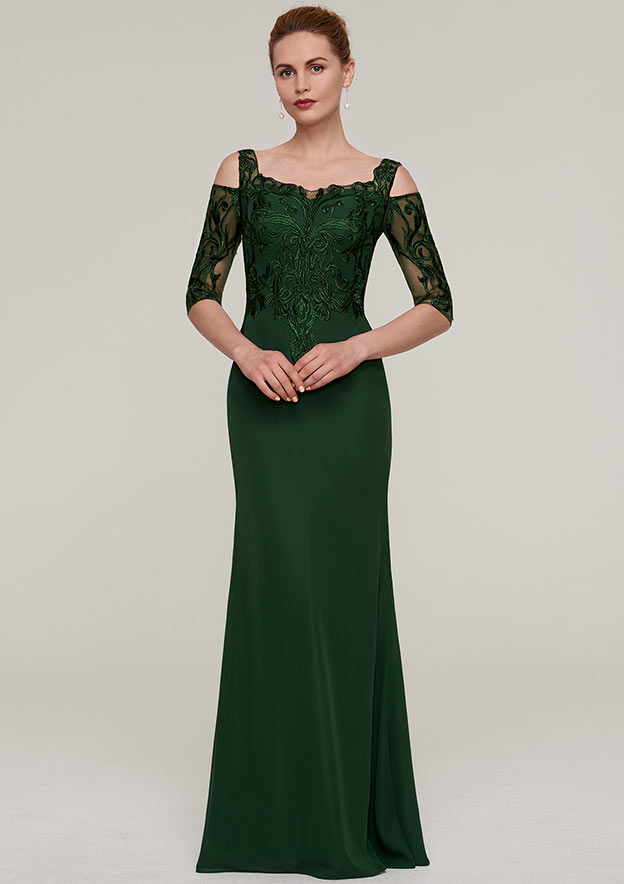 Sheath Column Square Neckline Half Sleeve Long Floor-Length Chiffon Mother  of the Bride Dresses With Appliqued 2d5ab61f8