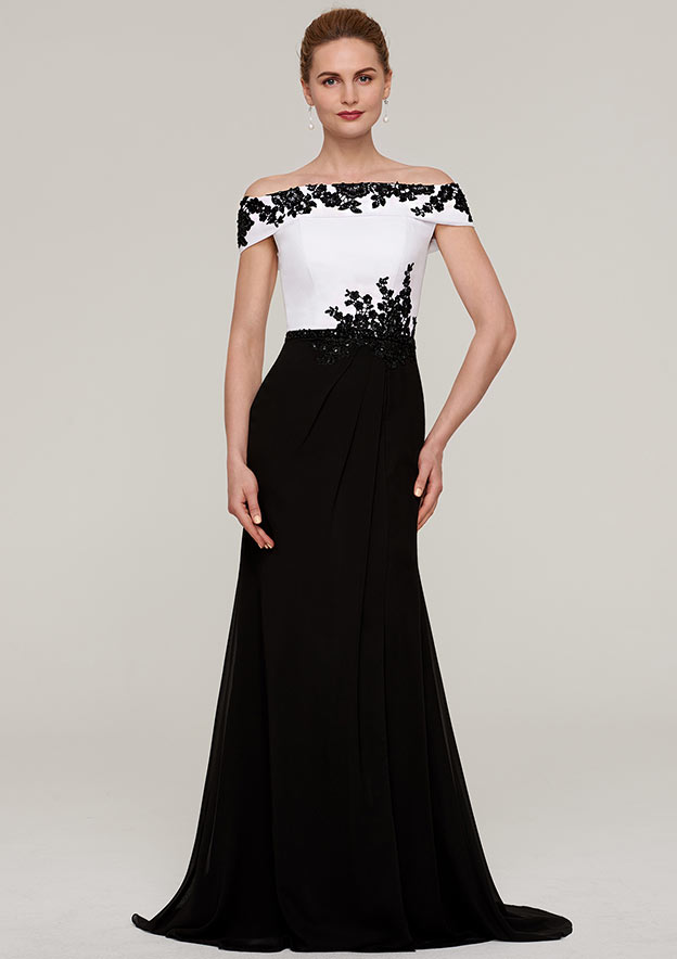 A-line Princess Off-the-Shoulder Sleeveless Sweep Train Chiffon Mother of  the Bride Dresses With Split Beading Appliqued 14fea1f76