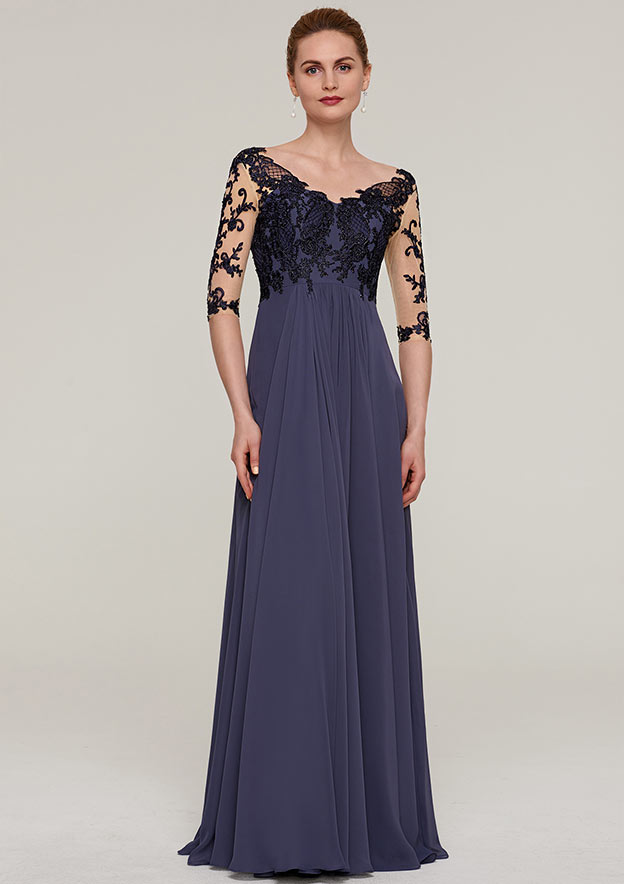 3dc286d23ed A-line Princess V Neck Half Sleeve Long Floor-Length Chiffon Mother of the  Bride Dresses With Appliqued - Mother of the Bride Dresses S18130M - at  Stacees