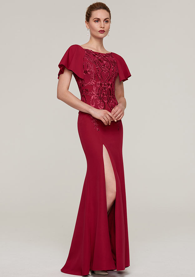 9e4aae2104 Sheath Column Bateau Short Sleeve Long Floor-Length Jersey Evening Dress  With Split Appliqued - Evening Dresses S18118E - at Stacees