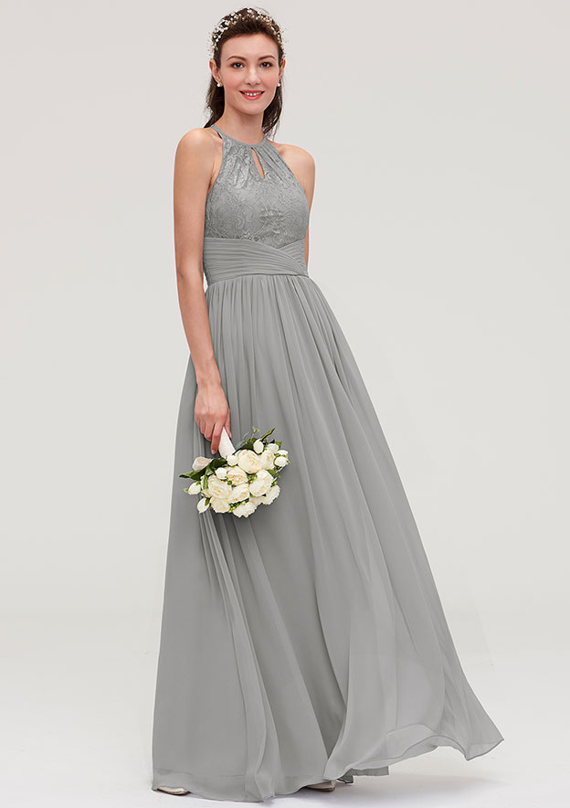 c1873ecfc6 A-line Princess Scoop Neck Sleeveless Long Floor-Length Chiffon Bridesmaid  Dresses With Pleated Lace - Bridesmaid Dresses S18140B - at Stacees