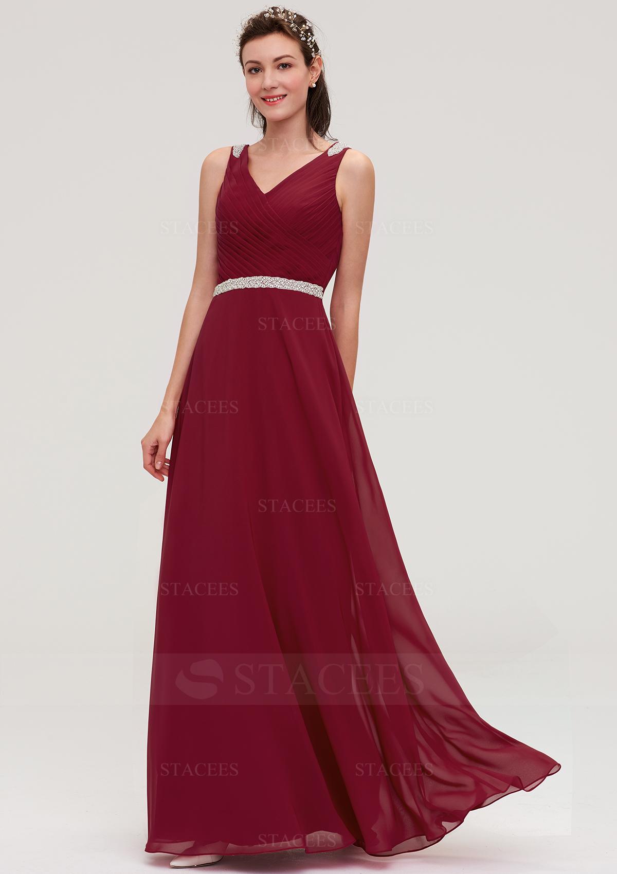 b9360fae5096 A-line/Princess V Neck Sleeveless Long/Floor-Length Chiffon ...
