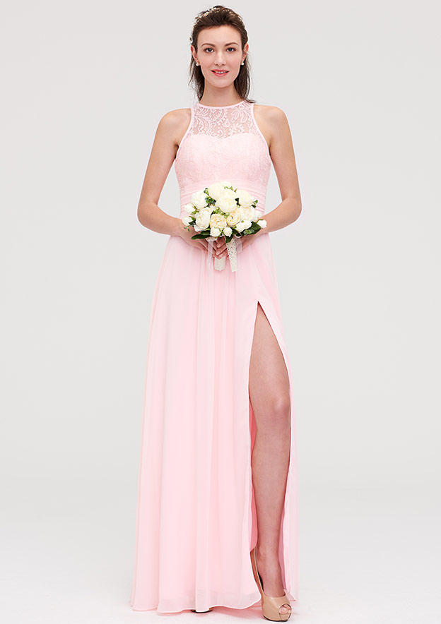 0f799840cb A-line Princess Scoop Neck Sleeveless Long Floor-Length Chiffon Bridesmaid  Dresses With Split Lace - Bridesmaid Dresses S18155B - at Stacees