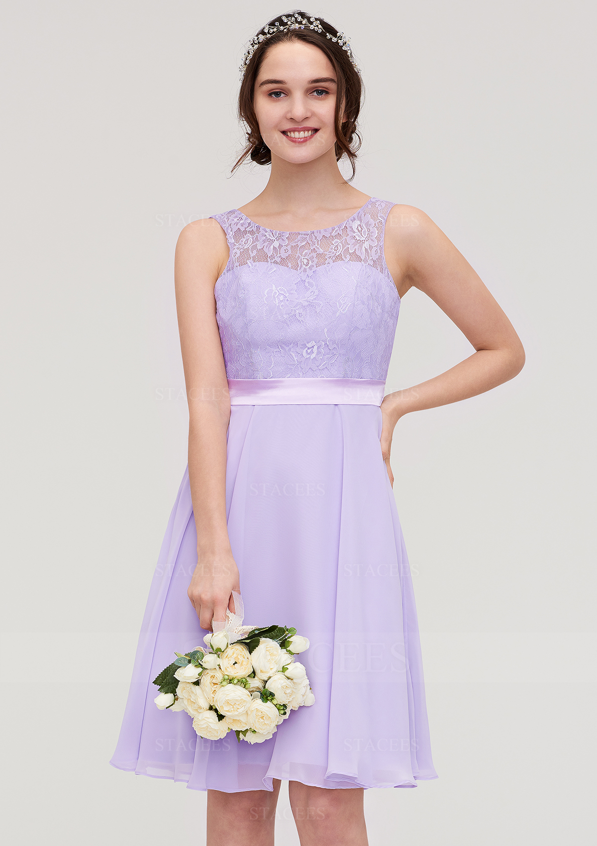 select for genuine classic style big discount of 2019 A-line/Princess Bateau Sleeveless Knee-Length Chiffon Bridesmaid Dress With  Sashes Lace