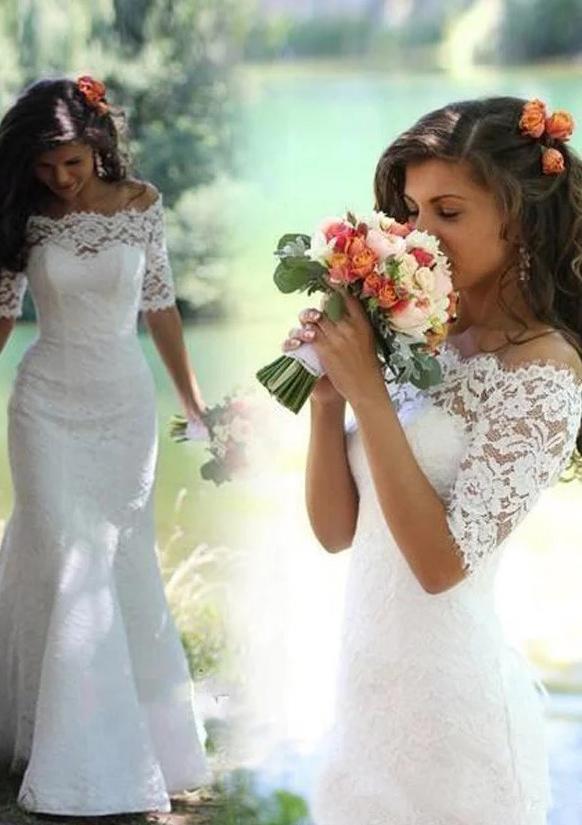 f2ff274e94b Lace Wedding Dress Sheath/Column Off-The-Shoulder Sweep Train