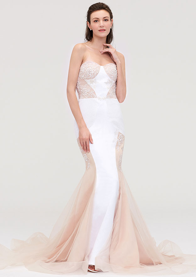5db6880fe545 Trumpet/Mermaid Sweetheart Sleeveless Chapel Train Tulle Prom Dress With  Lace Appliqued - Prom Dresses S18177P at Stacees.co.uk