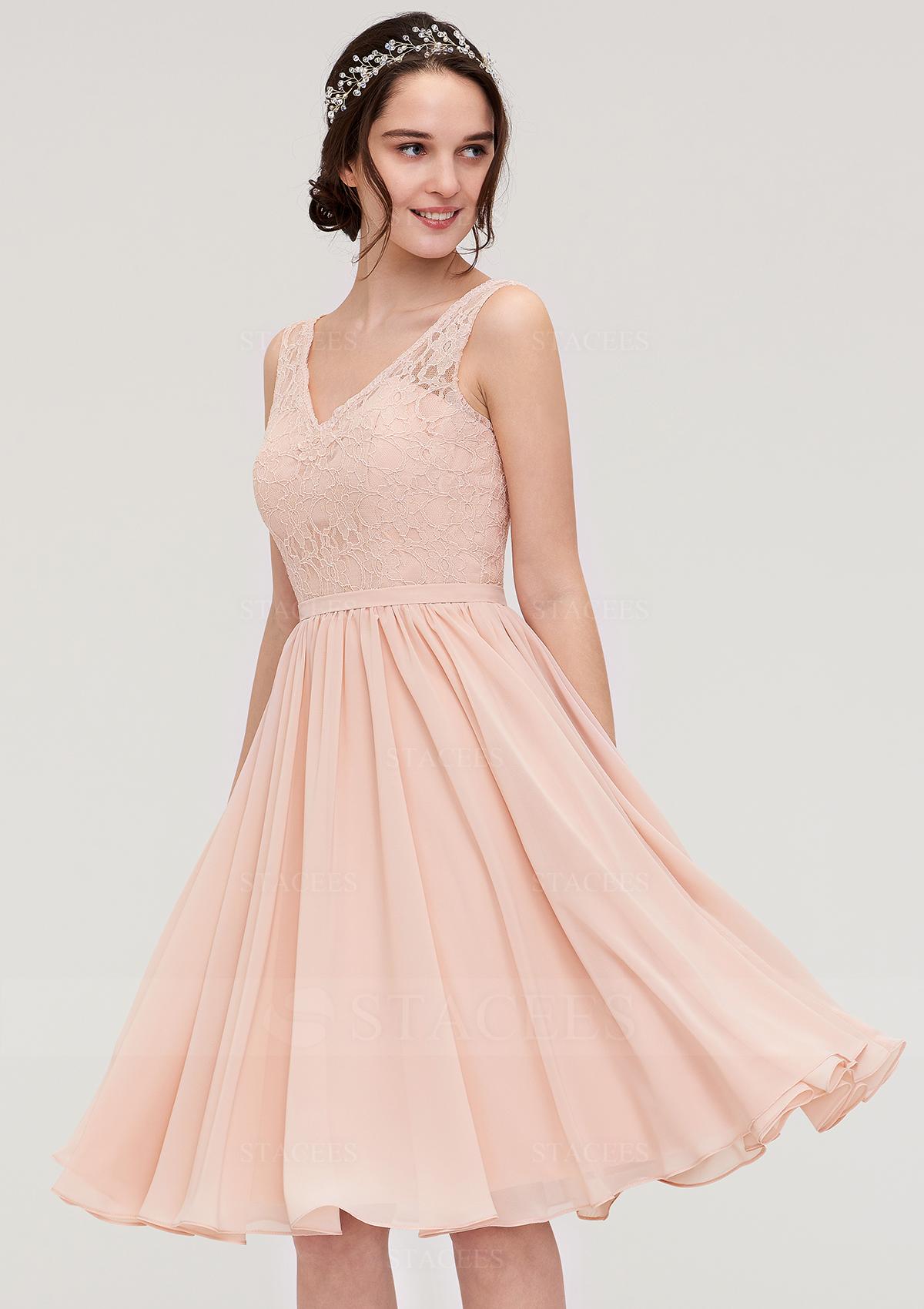 d37ea0e86c A-line Princess V Neck Sleeveless Knee-Length Chiffon Bridesmaid ...