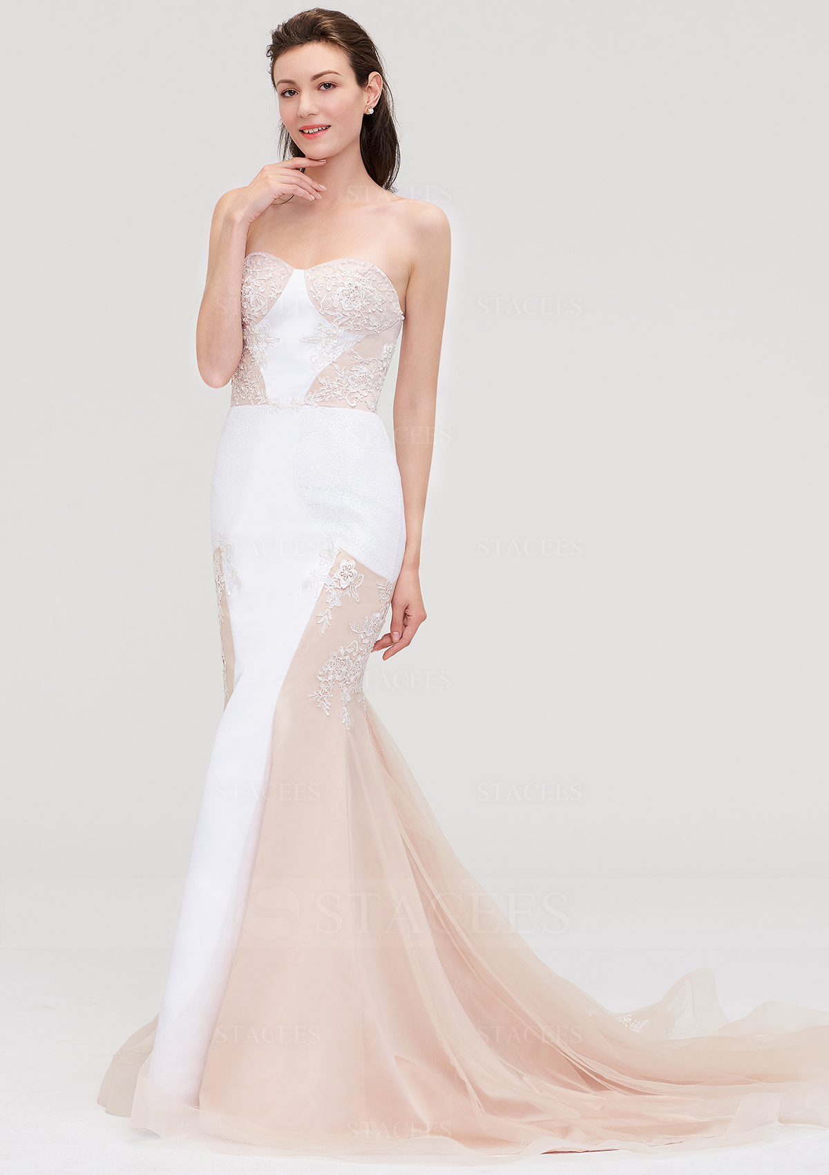 192be84b14ad Trumpet/Mermaid Sweetheart Sleeveless Chapel Train Tulle Prom Dress ...