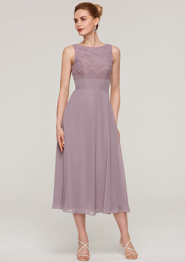 d85b7e2e779 A-line Princess Scoop Neck Sleeveless Tea-Length Chiffon Mother of the Bride  Dress With Lace Jacket - Mother of the Bride Dresses S18093M - at  Stacees.co.uk