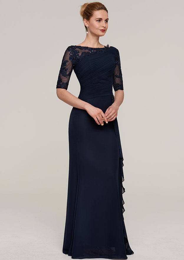 154db4674e Sheath Column Bateau Half Sleeve Long Floor-Length Chiffon Mother of the Bride  Dresses With Ruffles Pleated Appliqued Beading - Mother of the Bride Dresses  ...
