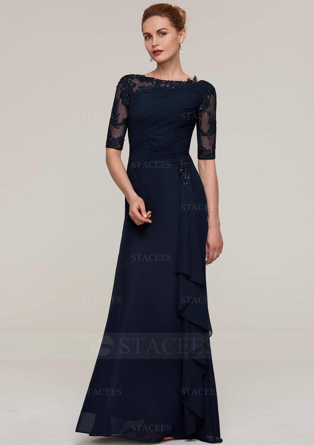 03f8bccdc7 Sheath Column Bateau Half Sleeve Long Floor-Length Chiffon Mother of ...