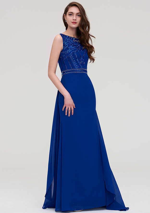 688d0ff4c117 A-line/Princess Bateau Sleeveless Long/Floor-Length Chiffon Prom Dress With  Side Draping Beading - Prom Dresses S18191P at Stacees.co.uk