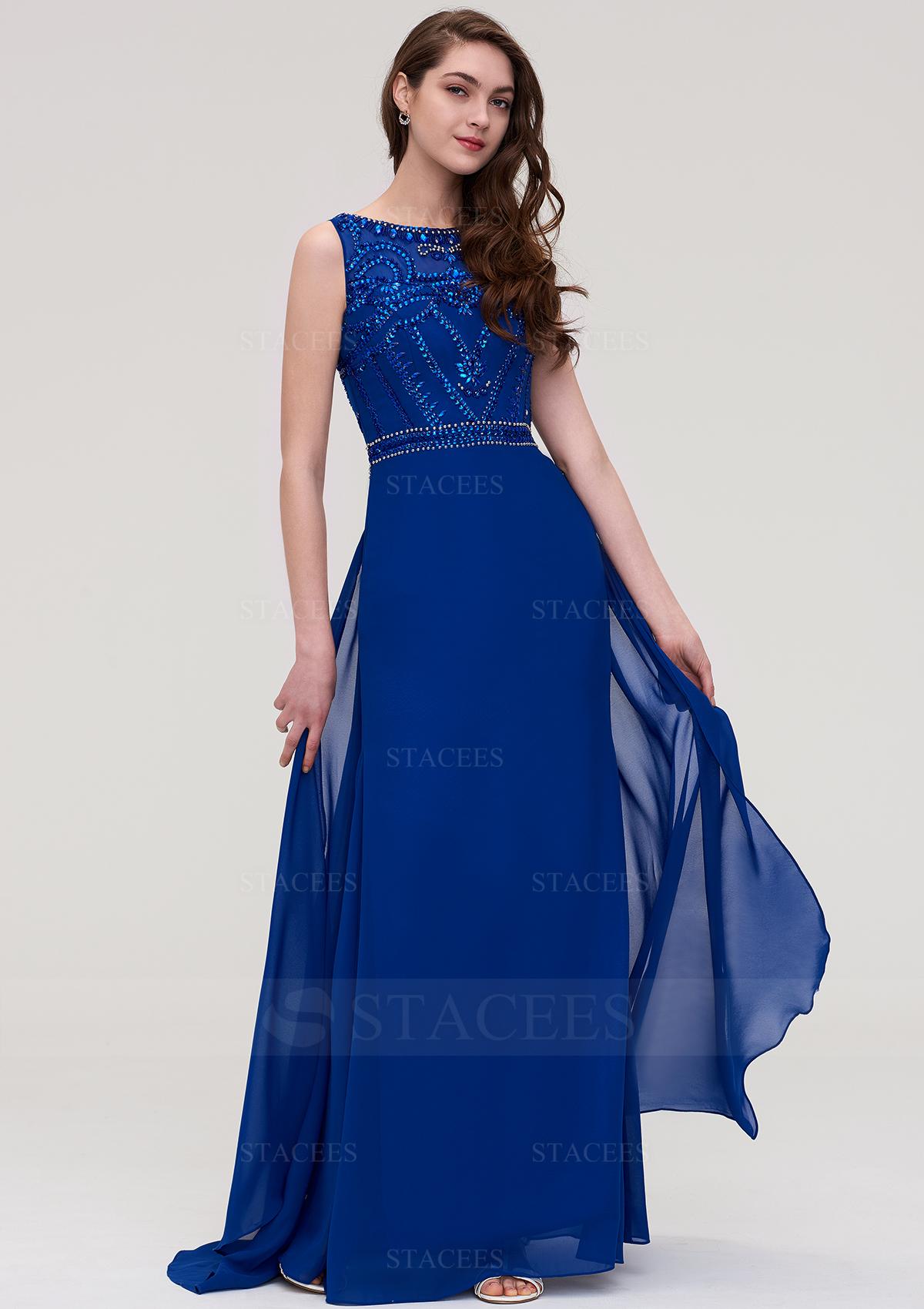 863e35df3b2d A-line/Princess Bateau Sleeveless Long/Floor-Length Chiffon Prom ...