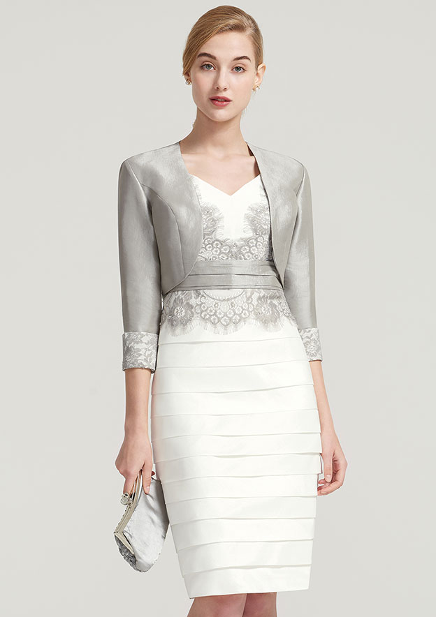 ad32d4bbf5 Sheath Column V Neck Sleeveless Knee-Length Satin Mother of the Bride Dress  With Jacket Appliqued Pleated
