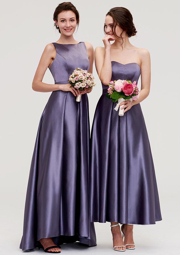 a9bf5e22e36e5b Satin Bridesmaid Dress A-line/Princess Bateau Sleeveless Ankle ...
